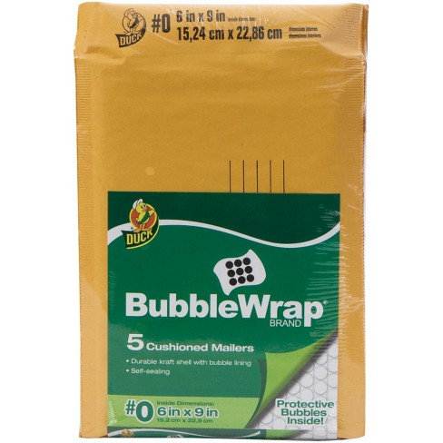Duck Brand Kraft Bubblewrap Cushioned Mailer, 6 x 9 Inches, Tan, pk of 5 - image 1 of 1