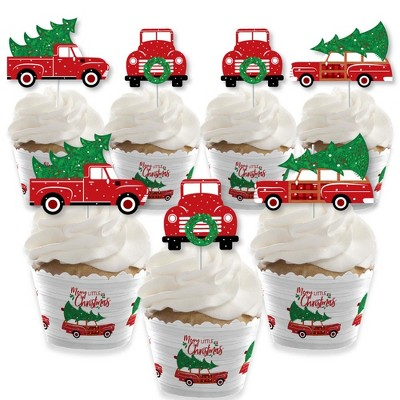 Big Dot of Happiness Merry Little Christmas Tree - Cupcake Decor - Red Truck and Car Christmas Party Cupcake Wrappers and Treat Picks Kit - Set of 24