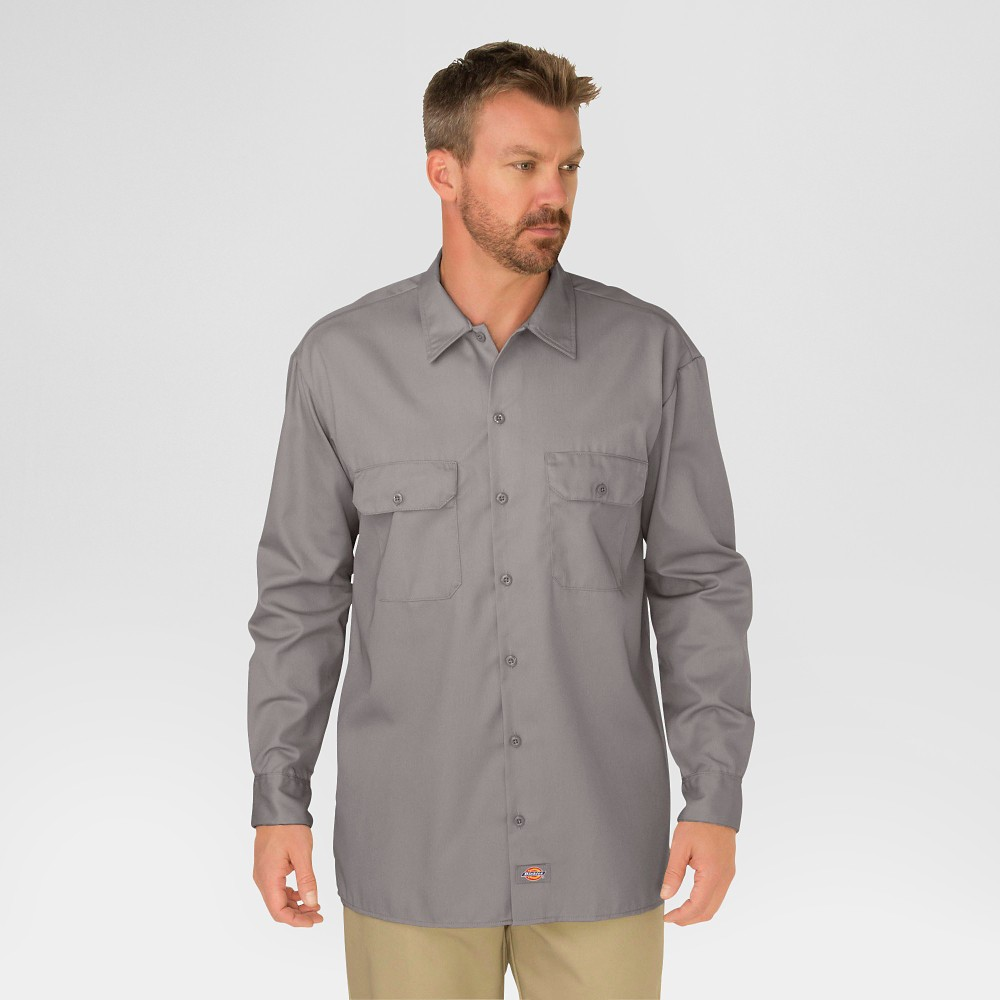 Image of Dickies Men's Original Fit Long Sleeve Twill Work Shirt- Silver L, Men's, Size: Large, Silver Gray