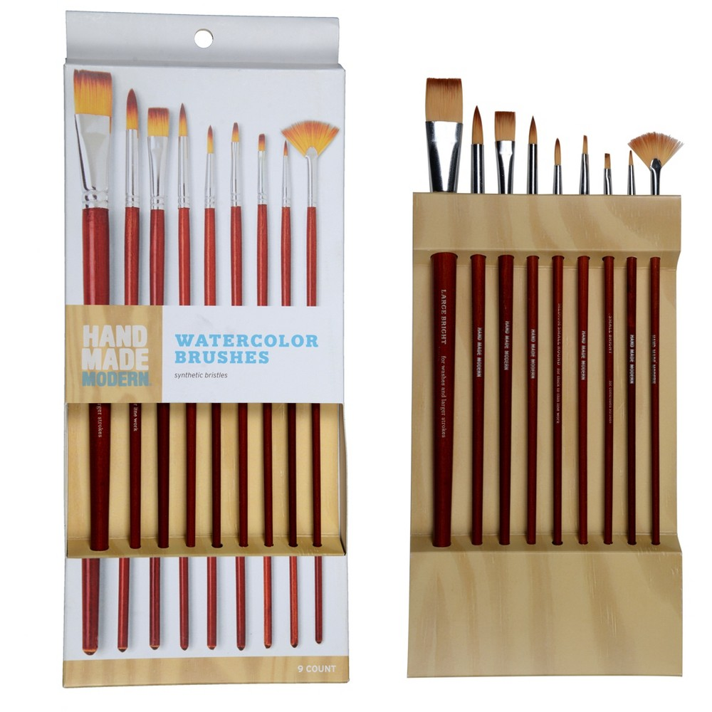 Hand Made Modern - Watercolor Brushes, 9ct, Red