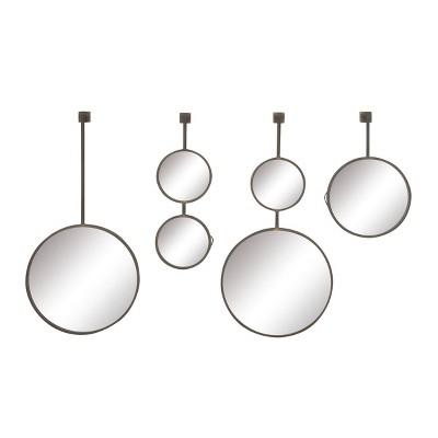 Set of 4 Modern Iron and Wood Round Hanging Wall Mirrors - Olivia & May
