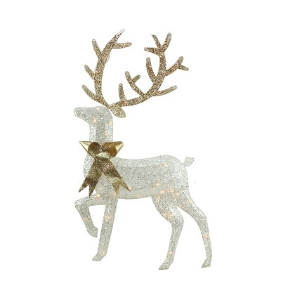 "Northlight 46"" Lighted 2-D Silver Glitter Reindeer Christmas Outdoor Decoration"