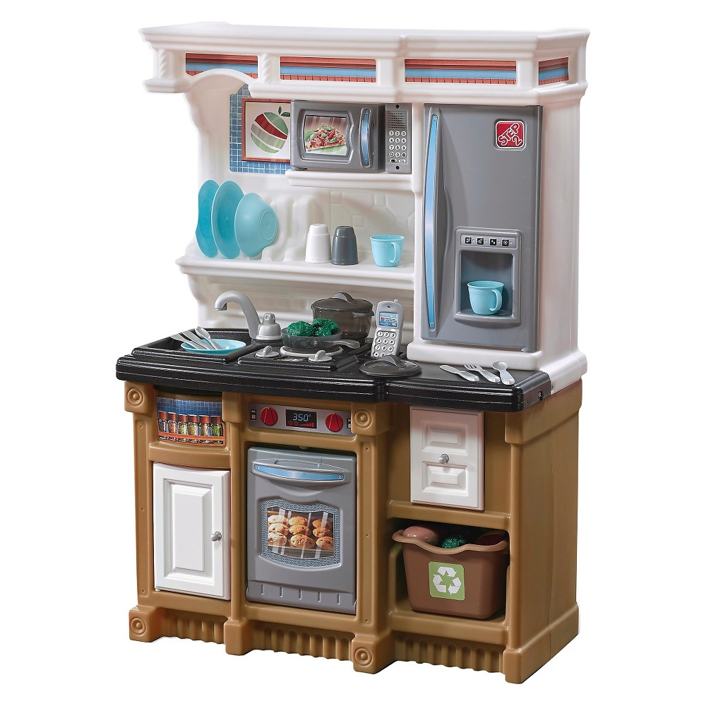 Step2 LifeStyle Custom Kitchen This Step2 Play Kitchen is a kitchen set that is designed to match today's style trends. It features a compact design that will look great in your sous chef's bedroom or playroom and includes plenty of accessories for multiple youngsters to play with. Toddlers and preschoolers will love the fun electronic sounds that resemble the noises of real appliances that you would find in an actual kitchen! Made in the USA with US and imported parts. Gender: Unisex.