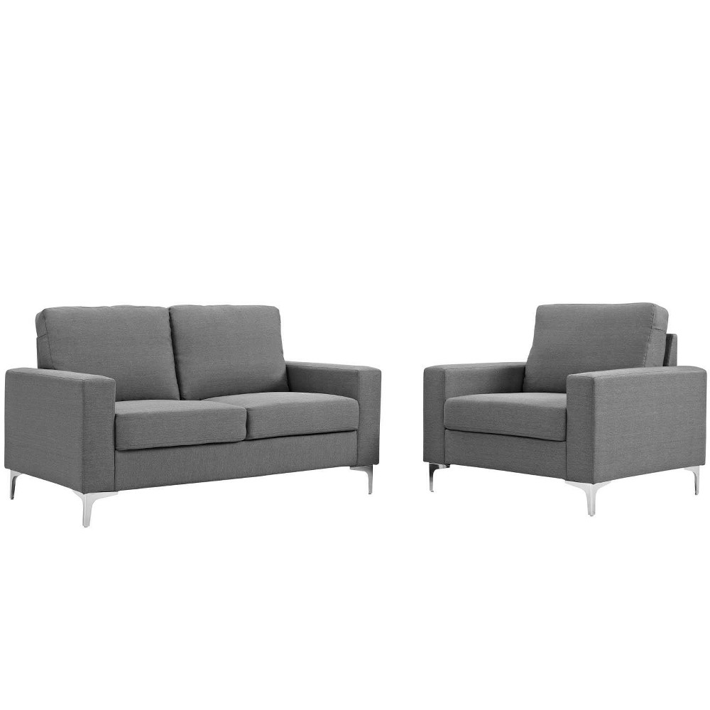 Image of 2pc Allure Sofa and Armchair Set Gray - Modway