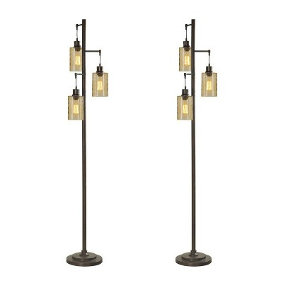 Abode 84 72 Inch 150 Watt Floor Lamp with 3 Glass Champagne Dimple Shades for Living Room, Dining Room, or Bedroom, Bronze (2 Pack)