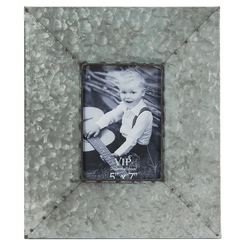 "Image of ""Metal Picture Frame Silver (5""""x7"""") - Vip Home & Garden, Grey"""
