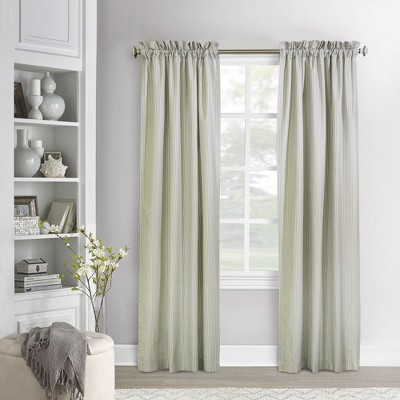 Commonwealth Home Fashions ThermaLogic Ticking Stripe High Quality & Stylish Prescott Base Window Accessories Set in Sage Color