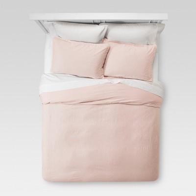 Blush Washed Linen Duvet Cover Set (King)- Threshold™