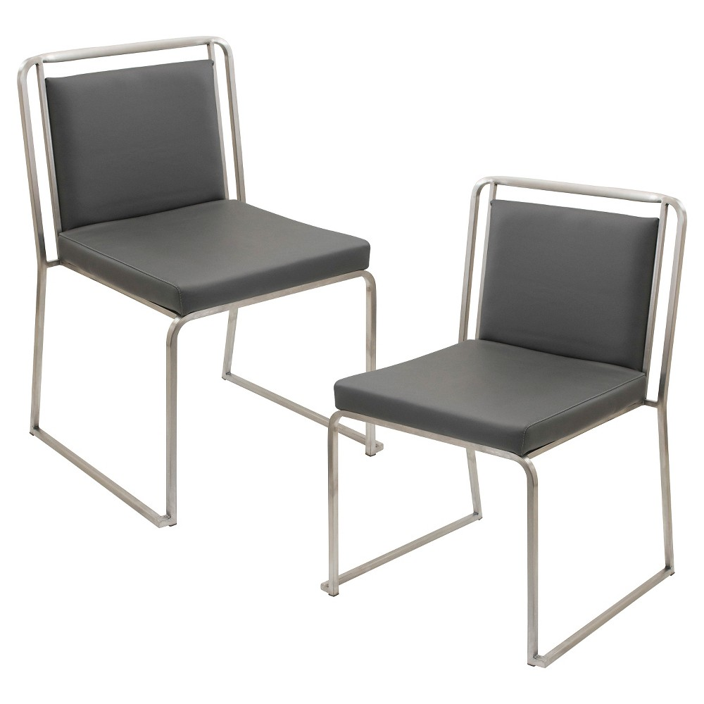Cascade Contemporary Stainless Steel Dining Chairs (Set of 2) - Gray - LumiSource