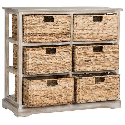 Merveilleux Keenan Storage Chest With Wicker Baskets Winter Melody   Safavieh®