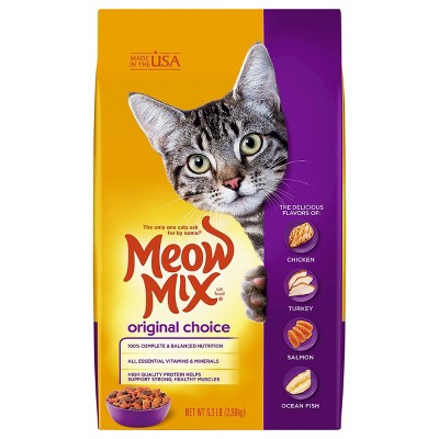Meow Mix Original Choice with Flavors of Chicken, Turkey & Salmon Adult Complete & Balanced Dry Cat Food - 6.3lbs