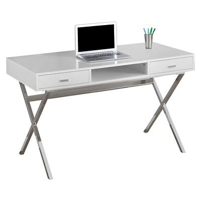 Chrome Metal Computer Desk - Glossy White - EveryRoom