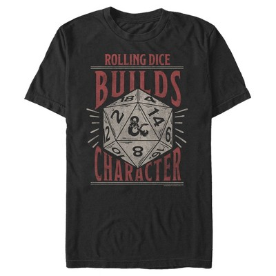 Men's Dungeons & Dragons Rolling Dice Builds Character T-Shirt