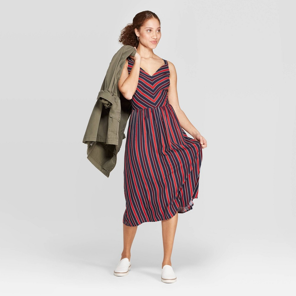 15eab6fe ... $27.99 Whether you're heading to a summer wedding or enjoying drinks on  a patio under the sun, the Striped Relaxed Fit Sleeveless Deep V Neck Midi  Dress ...