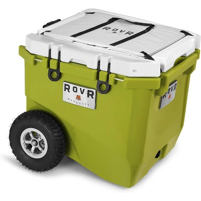 RovR RollR Portable Rolling Outdoor Insulated Cooler with Wheels for Camping, Beach, Picnics, 45 Quart, Green