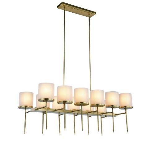 Elegant Lighting 1504g47 Bradford 12 Light 47 Wide Pillar Candle Style Chandelier Burnished Br