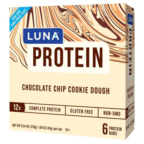 Luna Protein Chocolate Chip Cookie Dough Nutrition Bars 6ct Target