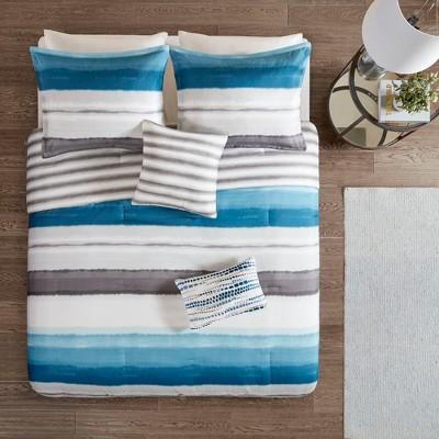 5pc King/Cal King Orren Reversible Print Comforter Set Indigo