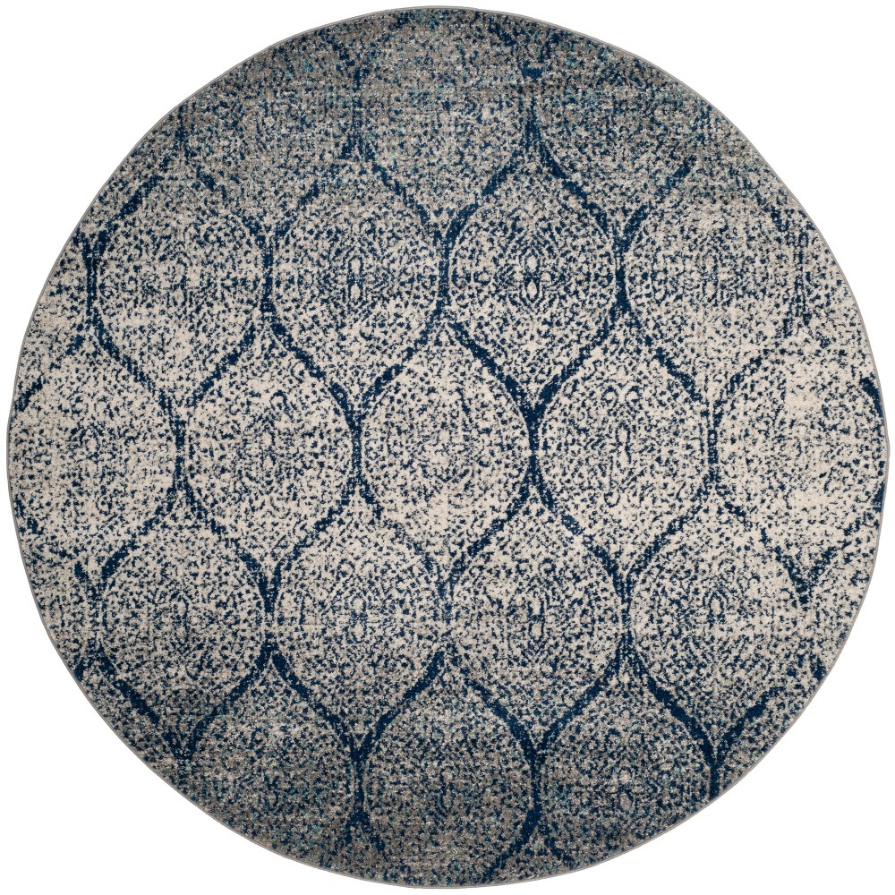 5' Shapes Loomed Round Area Rug Navy/Silver - Safavieh, Blue