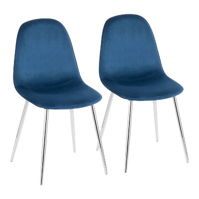 Set of 2 Pebble Contemporary Dining Chairs Chrome/Blue - LumiSource