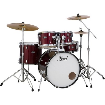 Pearl Roadshow 5-Piece Drum Set with Hardware and Zildjian Planet Z Cymbals Red Wine