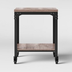 Jackman Industrial End Table with Wood Shelves and Metal Frame Gray - Threshold™