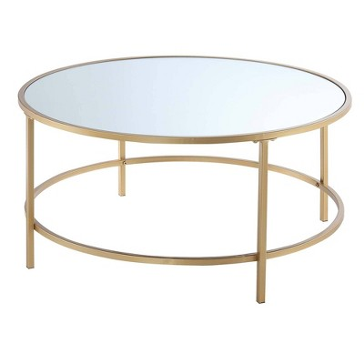 Gold Coast Mirrored Round Coffee Table Mirrored Top/Gold - Breighton Home