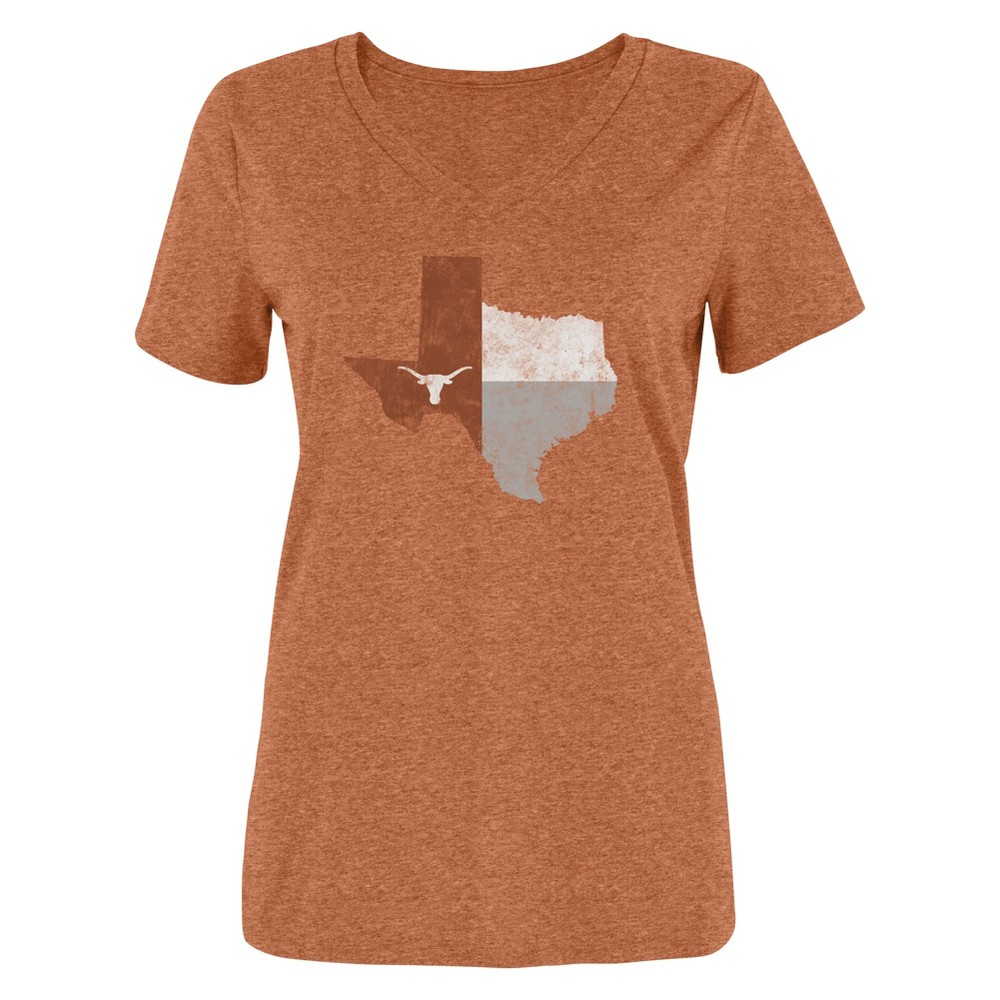 Texas Longhorns Women's Short Sleeve V-Neck 50/50 T-Shirt - Orange Heather - L, Multicolored
