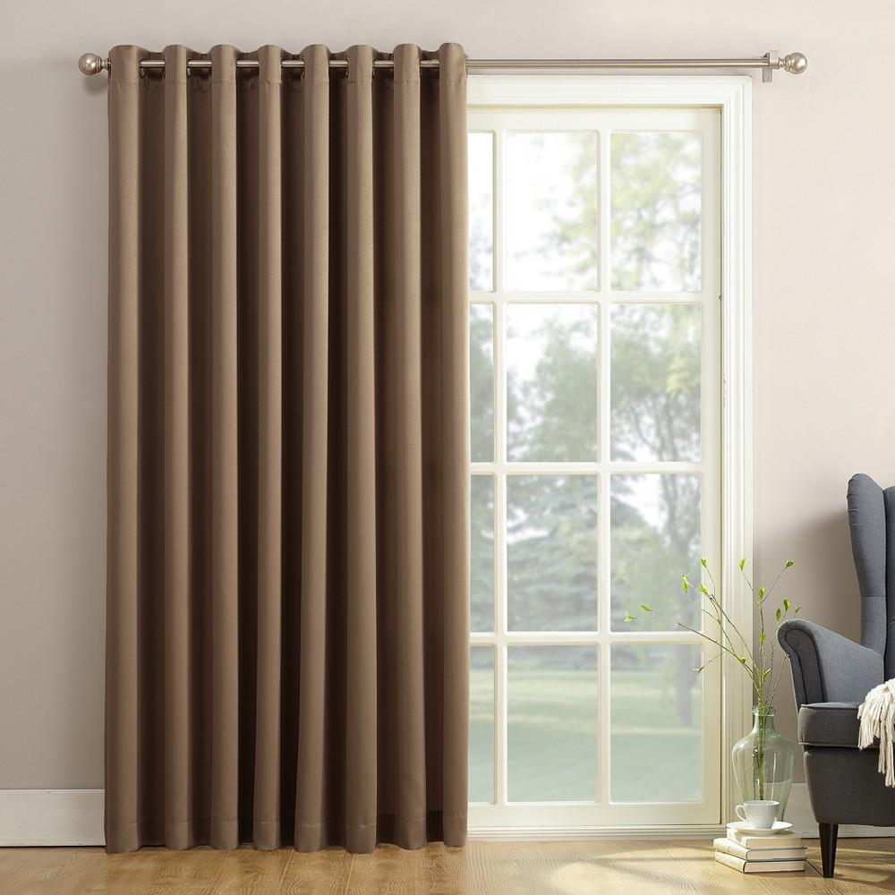 """Image of """"100""""""""x84"""""""" Seymour Extra Wide Energy Efficient Room Darkening Patio Door Curtain Panel Mocha - Sun Zero, Brown"""""""