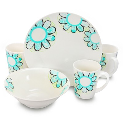 Gibson Home Lush Blossom 12 Piece Dinnerware Set in White and Blue Floral