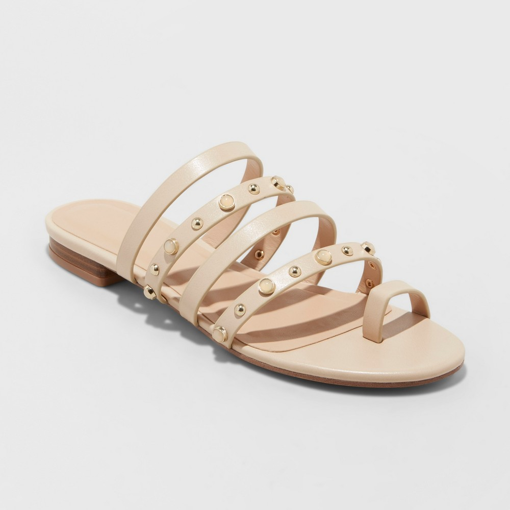 Women's Annabelle Strappy Jeweled Slide Sandals - A New Day Tan 12, Beige