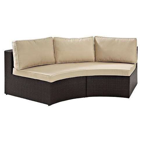 Catalina Outdoor Wicker Round Sectional Sofa - Sand - Crosley