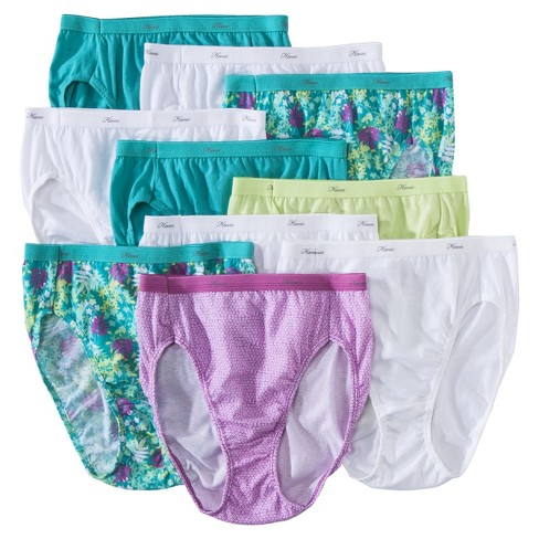 Hanes® Women's Cotton Hi-Cut PW43AS 10pk Briefs - Colors May Vary - image 1 of 3
