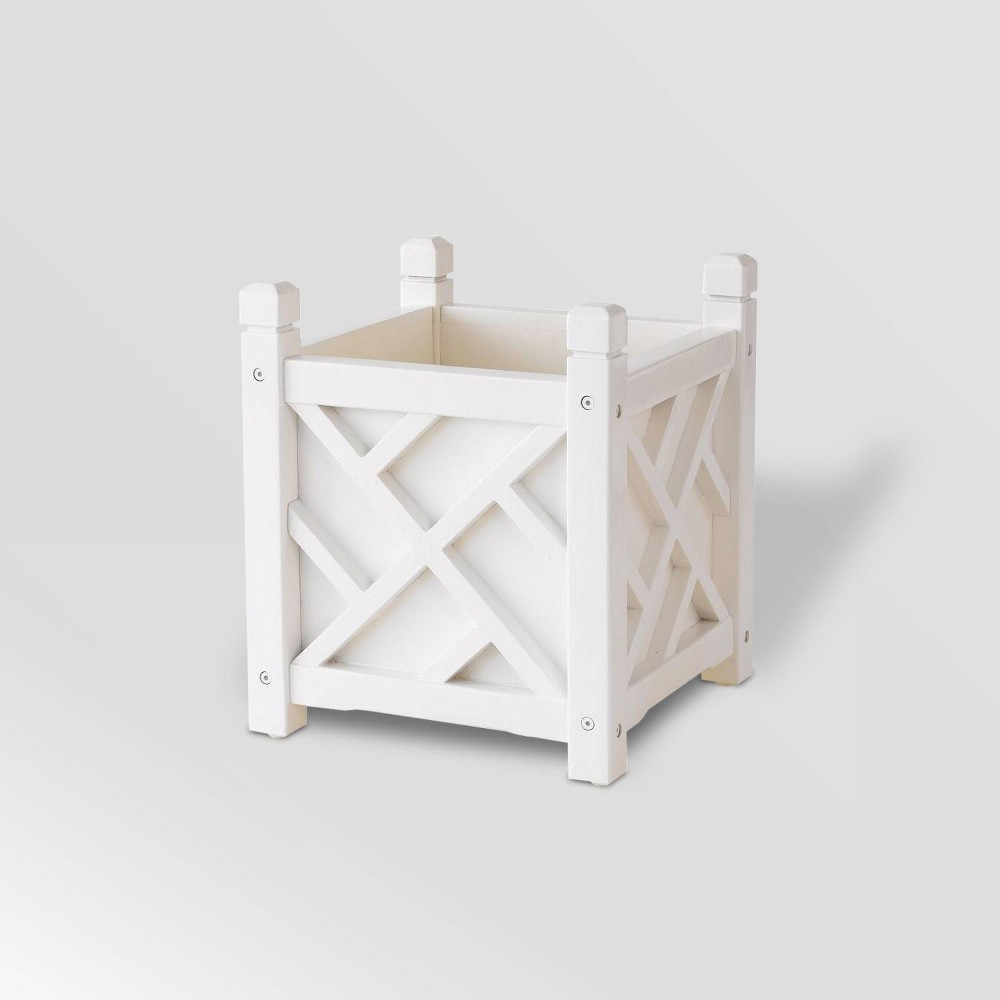 "Image of ""14"""" Wooden Chippendale Square Planter White - DMC Products"""