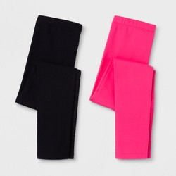 Girls' Adaptive 2pk Leggings - Cat & Jack™ Black/Pink