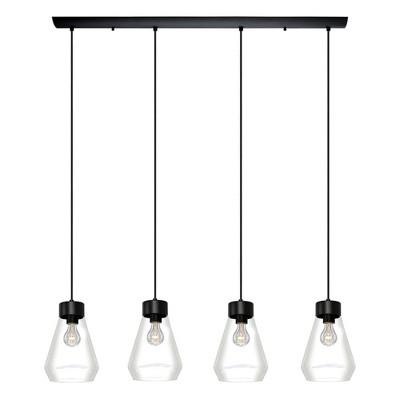 4-Light Montey Linear Glass Penadant Matte Black - EGLO