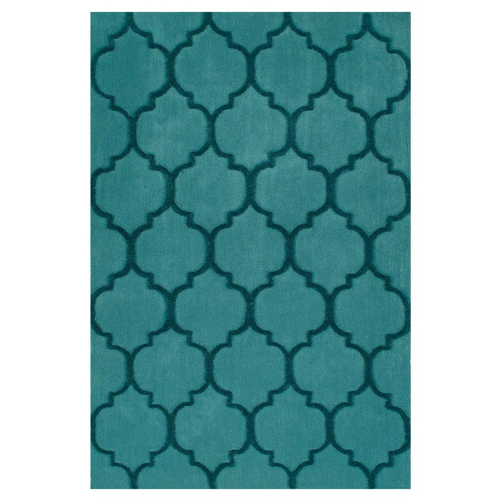 Teal (Blue) Geometric Tufted Area Rug - (9'X13')