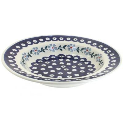 Blue Rose Polish Pottery Blue Violet Soup Plate