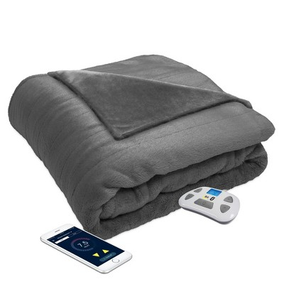 Queen Bluetooth Enabled Ultrasoft Plush Electric Bed Blanket Gray - Serta