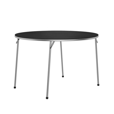 "Cosco 44"" Stylaire Round Vinyl Top Folding Table Black/Silver"