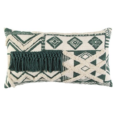 """14""""x26"""" Oversized Polyester Filled Geometric Lumbar Throw Pillow Green - Rizzy Home"""