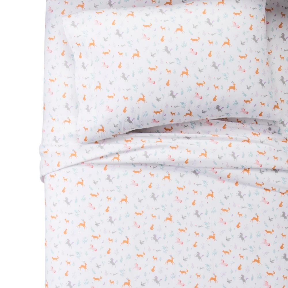 Full Forest Animals 100% Cotton Sheet Set - Pillowfort, White