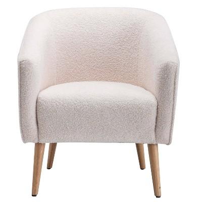 Faux Shearling Barrel Accent Chair Cream Faux Shearling - WOVENBYRD