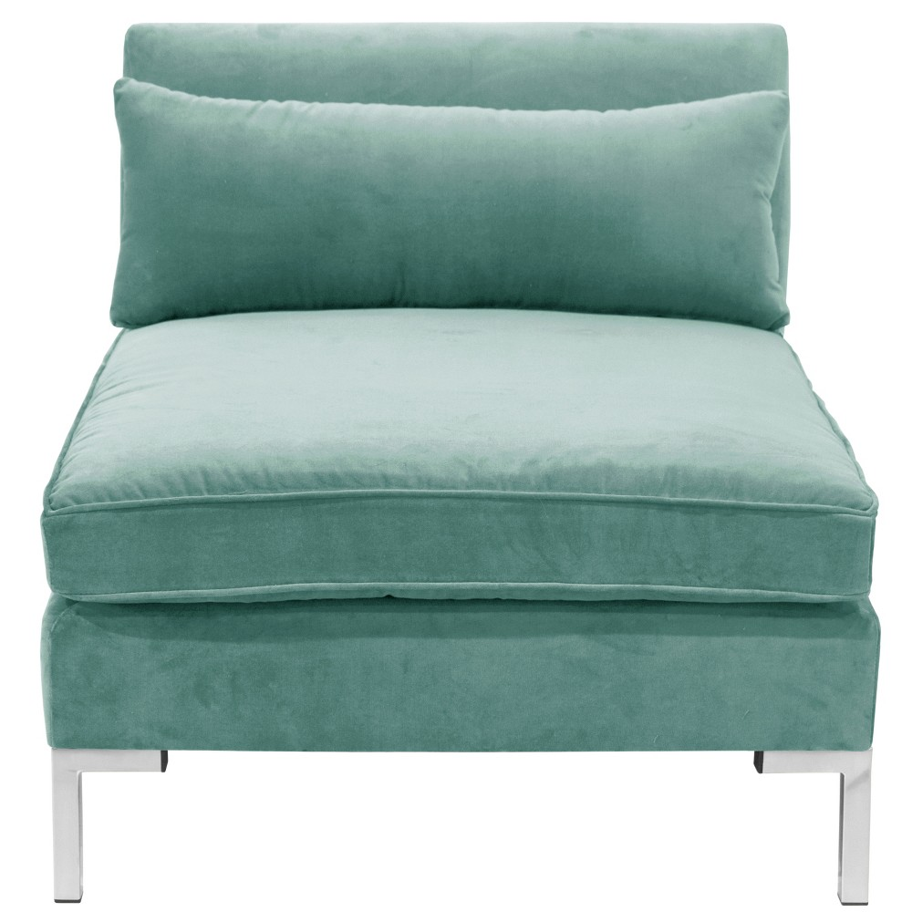 Alexis Armless Chair with Silver Metal Y Legs Teal Velvet - Cloth & Co.