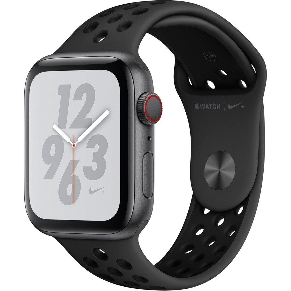 Apple Watch Series 4 Nike+ Gps & Cellular 44mm Space Gray Aluminum Case with Nike Sport Band - Anthracite/Black, Black Sport Band Track your runs with Gps and altimeter. Pair your watch wirelessly with compatible gym equipment. Apple Watch Nike+ is swimproof, so you can take a post-run dip in the pool. And built-in cellular lets you stream your favorite music and get phone calls, messages, and notifications—even when you don't have your phone. There are new Nike watch faces and bands: The Nike Sport Band with compression-molded perforations for breathability and the Nike Sport Loop is woven with a special reflective thread. Selection may vary; see a sales associate for available models. Apple Watch Series 4 (Gps + Cellular) requires an iPhone 6 or later with iOS 12 or later. Wireless service plan required for cellular service. Apple Watch and iPhone service provider must be the same. Not all service providers support enterprise accounts; check with your employer and service provider. Roaming is not available outside your carrier network coverage area. Contact your service provider for more details. Iso standard 22810:2010. Appropriate for shallow-water activities like swimming. Submersion below shallow depth and high-velocity water activities not recommended. Compared with the previous generation. Color: Black Sport Band.