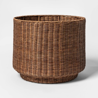 Rattan Fine Weave Round Basket Brown - Project 62™