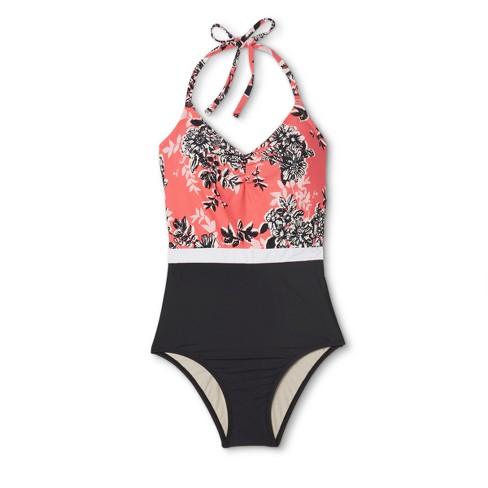 0575d06580 Sea Angel Women's Floral Blocked Halter One Piece Swimsuit - Coral/Black XL  : Target