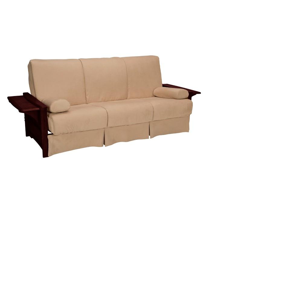 Brooklyn Perfect Futon Sofa Sleeper - Mahogany Wood Finish - Epic Furnishings, Pecan