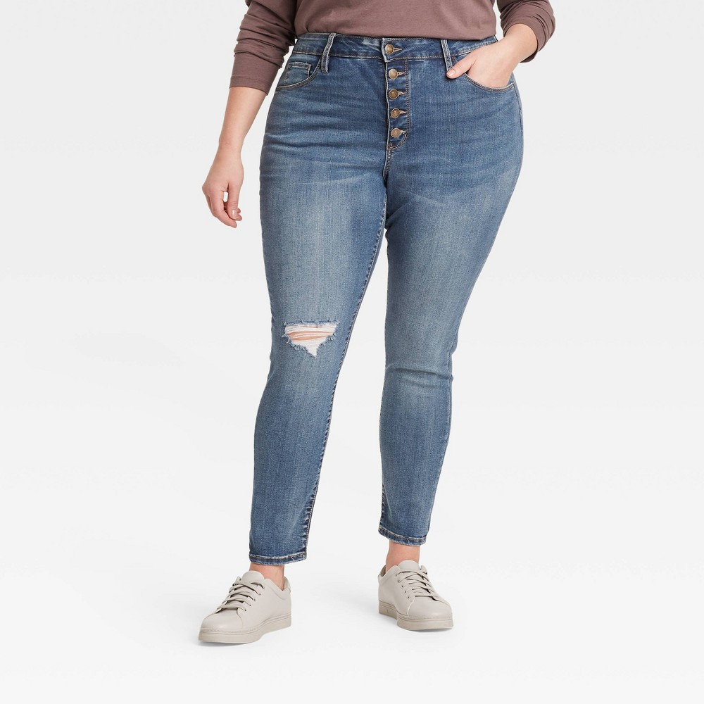 Women 39 S Plus Size High Rise Distressed Skinny Jeans Ava 38 Viv 8482 Medium Wash 22w