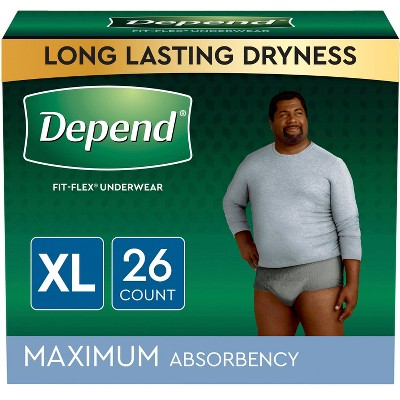 Depend FIT-FLEX Incontinence Underwear for Men - Maximum Absorbency - Gray
